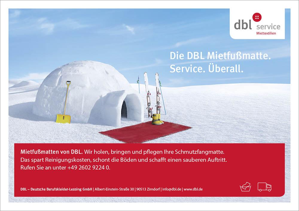 DBL Mietfußmatten Imagekampagne Motiv Iglu
